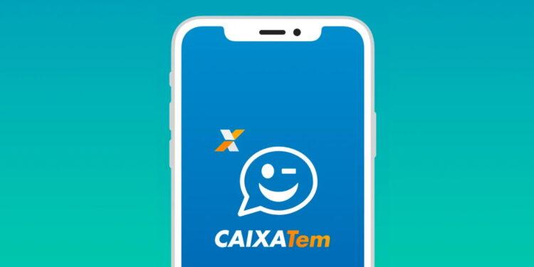 Cartão de crédito Caixa Tem: ilustração realística de celular com a logo do Caixa Tem na tela
