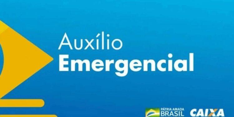 consultar auxílio emergencial: a imagem mostra a logo do auxílio emergencial num fundo azul